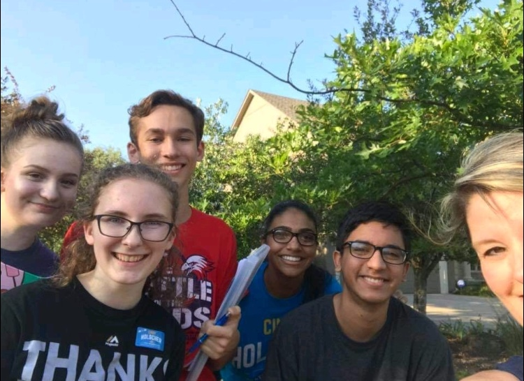 Olathe North students take a selfie with State Representative Cindy Halscher while canvassing in District 16. From left to right: Sara Holscher, Lauren Ellenz, Wade Boohar, Tasmin Sangha, Rohan Minocha, and Cindy Holscher.