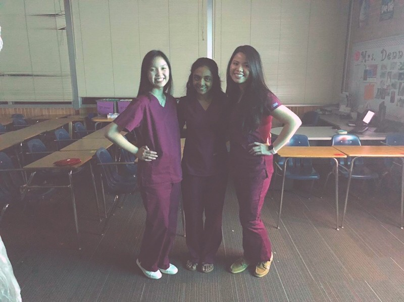 Seniors Rachel Tran, Keerthi Kode and Thao Le prepare for their first day at their internship at Olathe Medical Center.